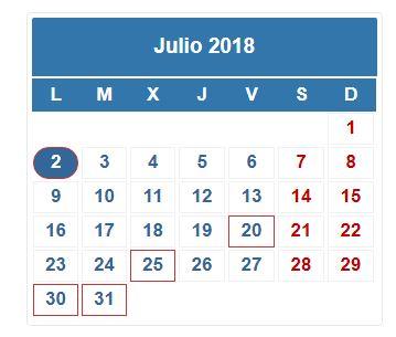 Mes De Julio Calendario.Plazos De Las Obligaciones Fiscales Del Mes De Julio