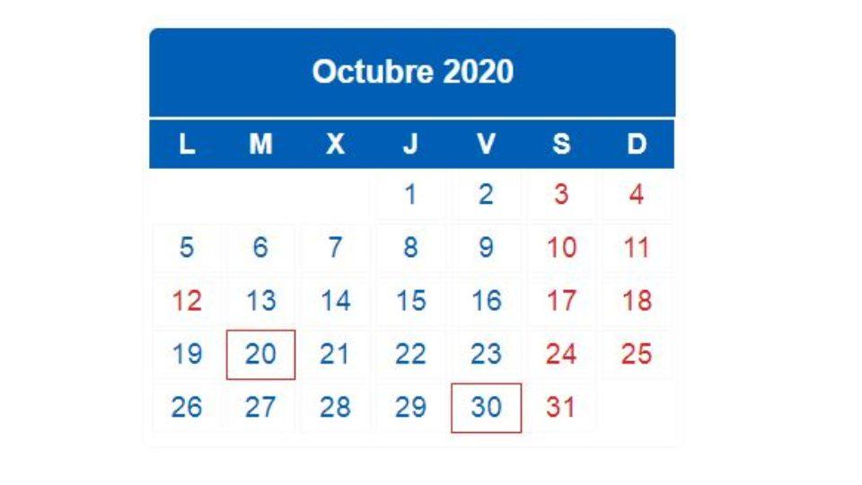 Calendario impuestos 2020