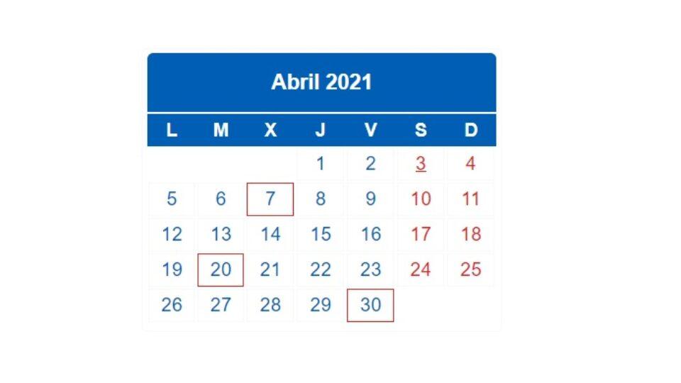 Plazos impuestos abril 2021